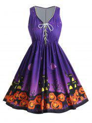 Lace Up Plus Size Pumpkin Lantern Halloween A Line Dress -