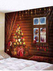 Father Christmas Gift Window Print Tapestry Art Decoration -