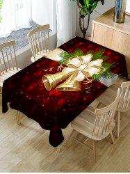 Christmas Bell Bowknot Print Fabric Waterproof Tablecloth -