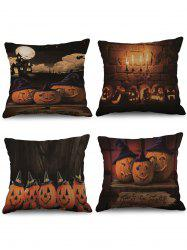 4 Pcs Halloween Pumpkin Print Decorative Linen Pillowcases -