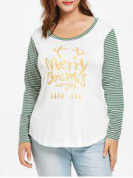 Plus Size High Low Stripes Merry Christmas Tee -