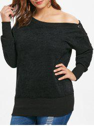 Plus Size Skew Neck Sweatshirt with Buttons -