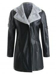 Fuzz Lined Faux Leather Long Coat -