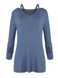 Cut Out Ruched Sleeve T-shirt -
