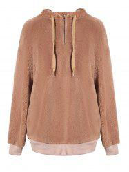 Tunic Faux Fur Pullover Hoodie -