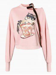 Skew Neck Drop Shoulder Graphic Sweatshirt -