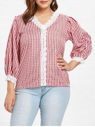Plus Size Plaid V Neck Blouse -