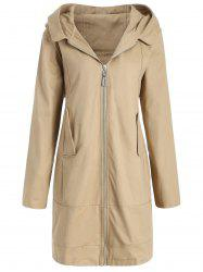 Plus Size Hooded Long Coat -