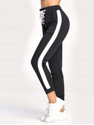 Contrast Jogger Pants with Lace Up -