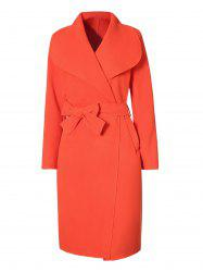 Belted Long Coat with Pockets -