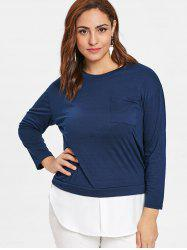 Plus Size Two Tone Tunic Tee -