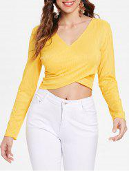 Cross Front Long Sleeve Ribbed Crop Top -