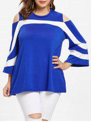 Plus Size Cold Shoulder Color Block T-shirt -
