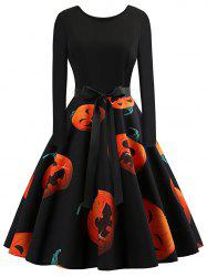Plus Size Vintage Pumpkin Halloween Dress -