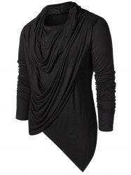 Asymmetric Pile Heap Collar Solid T-shirt -