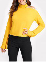 Stand Collar Cold Shoulder Sweatshirt -