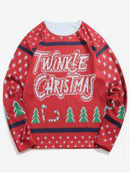 Letter Christmas Tree Knitted Sweater Print T-shirt -