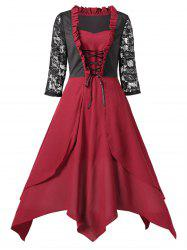 Lace Panel Long Vintage Handkerchief Dress -