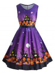 Pumpkin Lantern Halloween Plus Size A Line Dress -