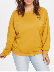 Plus Size Letter Embroidered Sweatshirt -