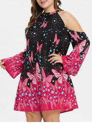 Plus Size Butterfly Print Cold Shoulder Dress -