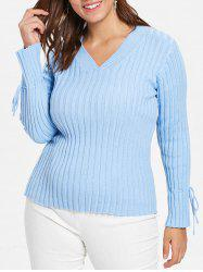 Plus Size V Neck Ribbed Sweater -