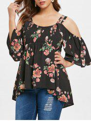 Plus Size Open Shoulder Floral High Low Blouse -
