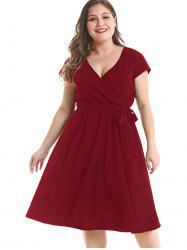 Plus Size Cap Sleeve Wrap Dress -