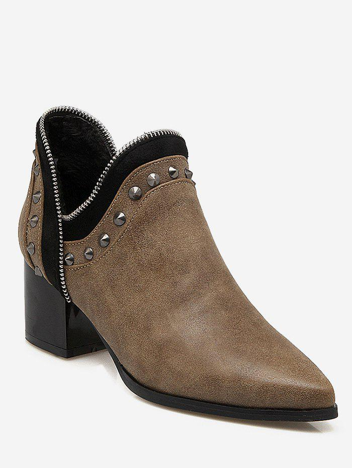 Chic Plus Size Studded Chunky Heel Ankle Boots