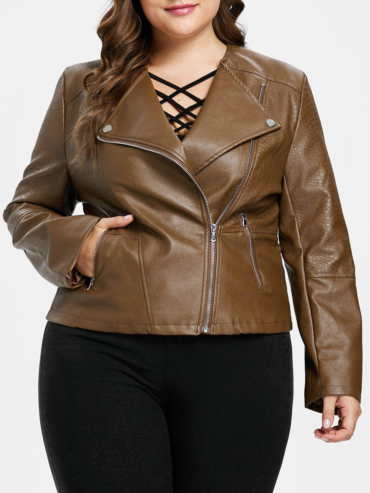 Best Zipper Embellished Plus Size Biker Jacket