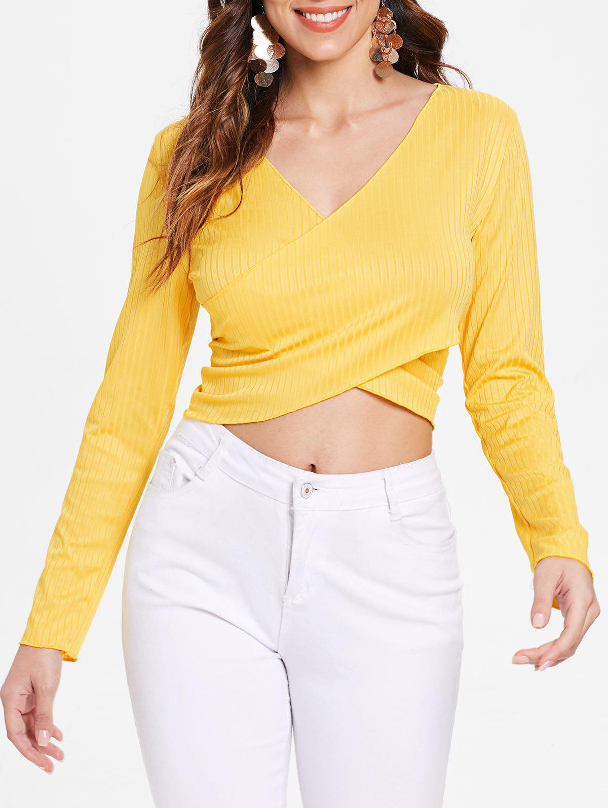 Affordable Cross Front Long Sleeve Ribbed Crop Top
