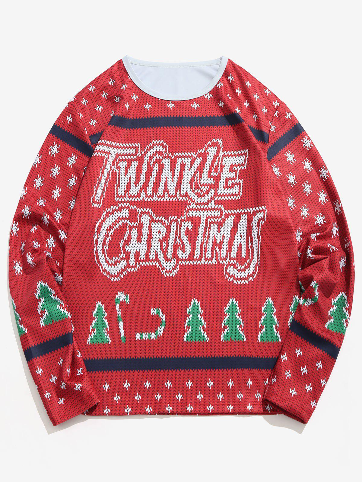 Fancy Letter Christmas Tree Knitted Sweater Print T-shirt