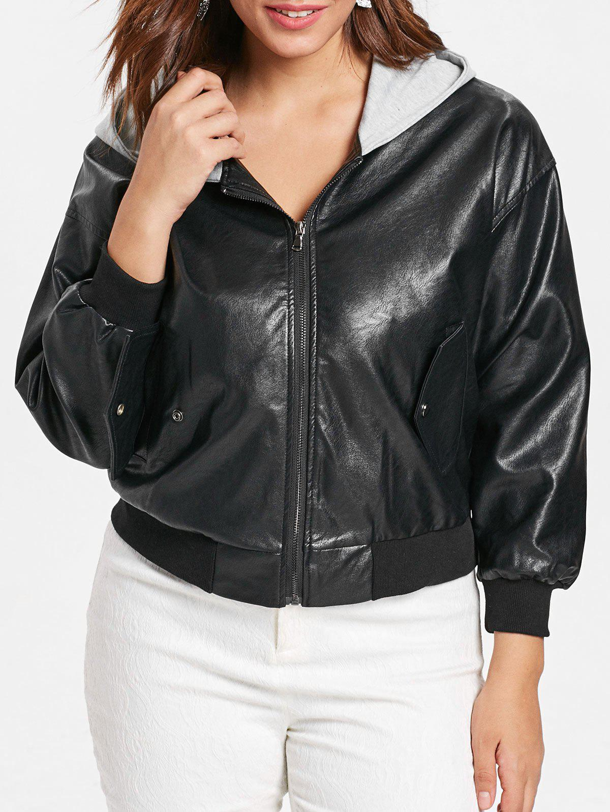 Chic Front Pockets Plus Size Faux Leather Zip Jacket