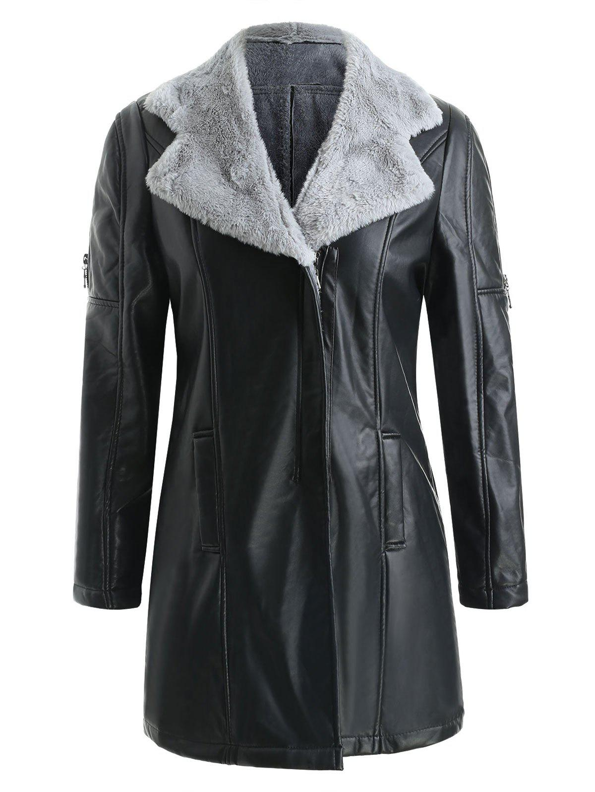 Outfits Fuzz Lined Faux Leather Long Coat