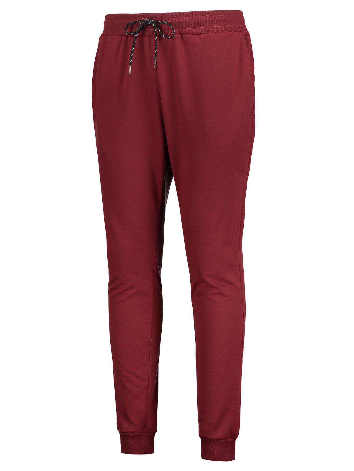 Elastic Drawstring Waist Whole Colored Sports Jogger Pants, Red wine