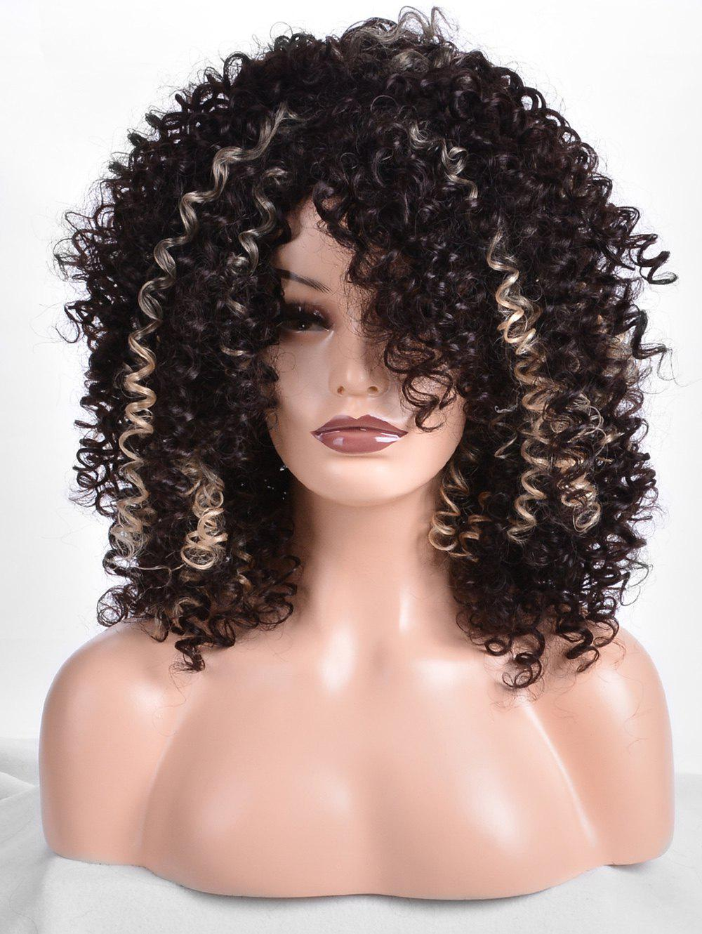 Средний наклонный Bang Afro Colormix Kinky Curly Synthetic Wig