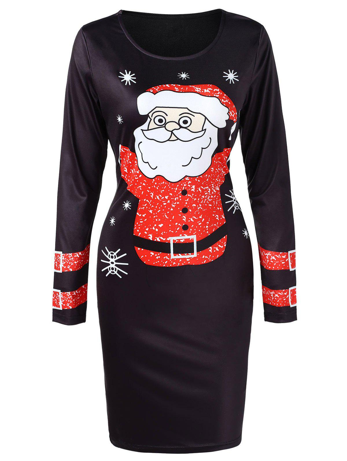 Outfit Long Sleeve Santa Claus Printed Christmas Dress