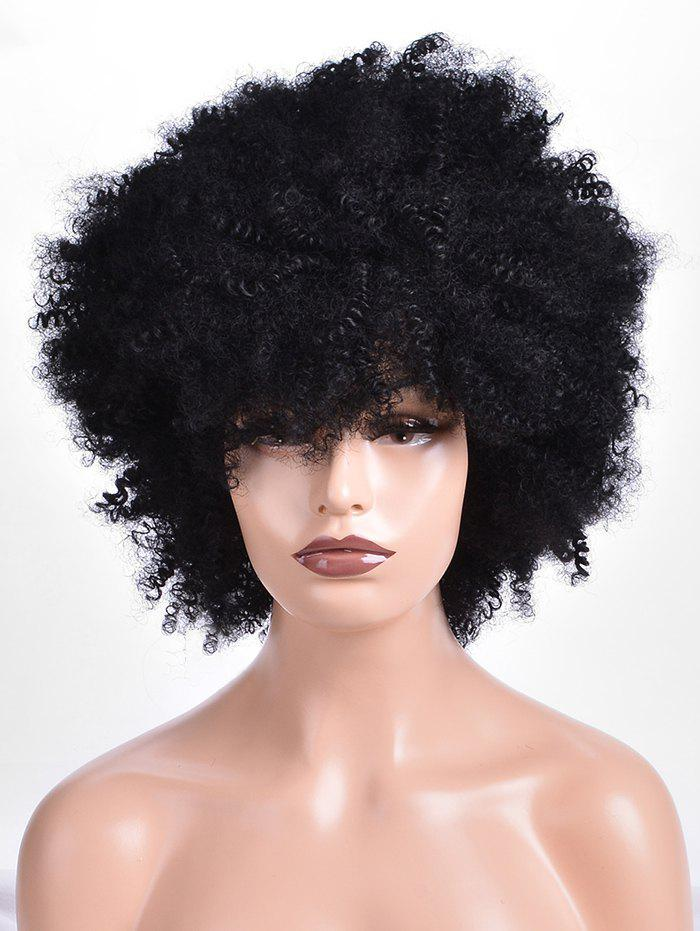 Affordable Short Side Fringe Shaggy Afro Curly Synthetic Wig