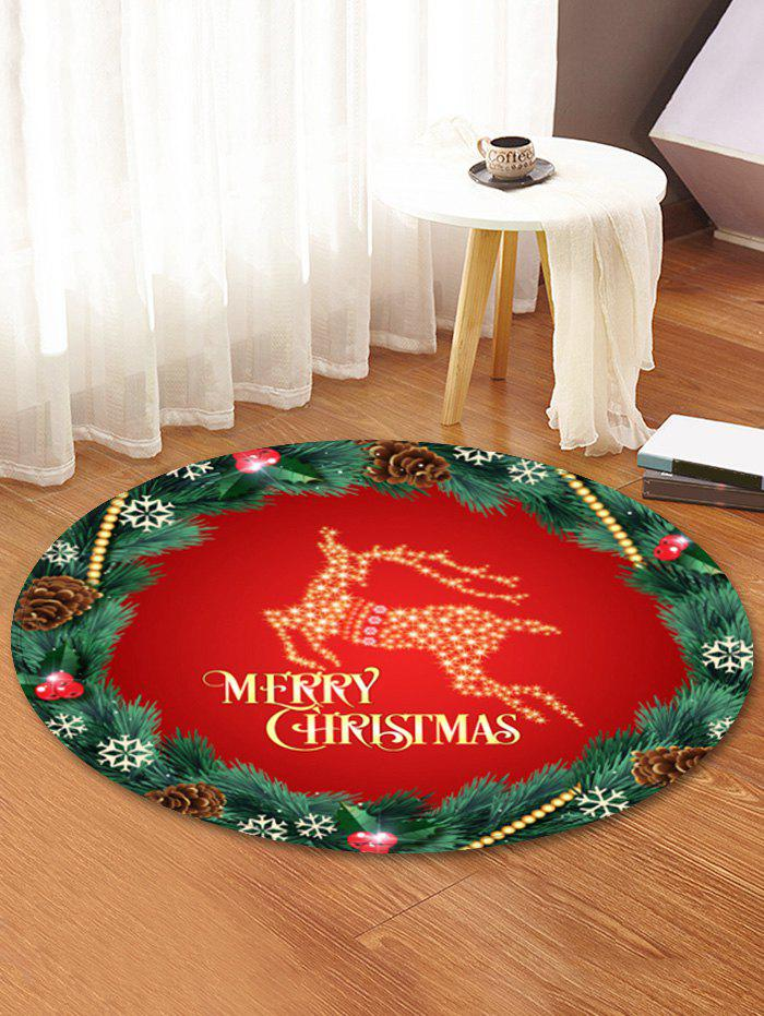 Shops Christmas Wreath Elk Pattern Anti-skid Round Floor Rug