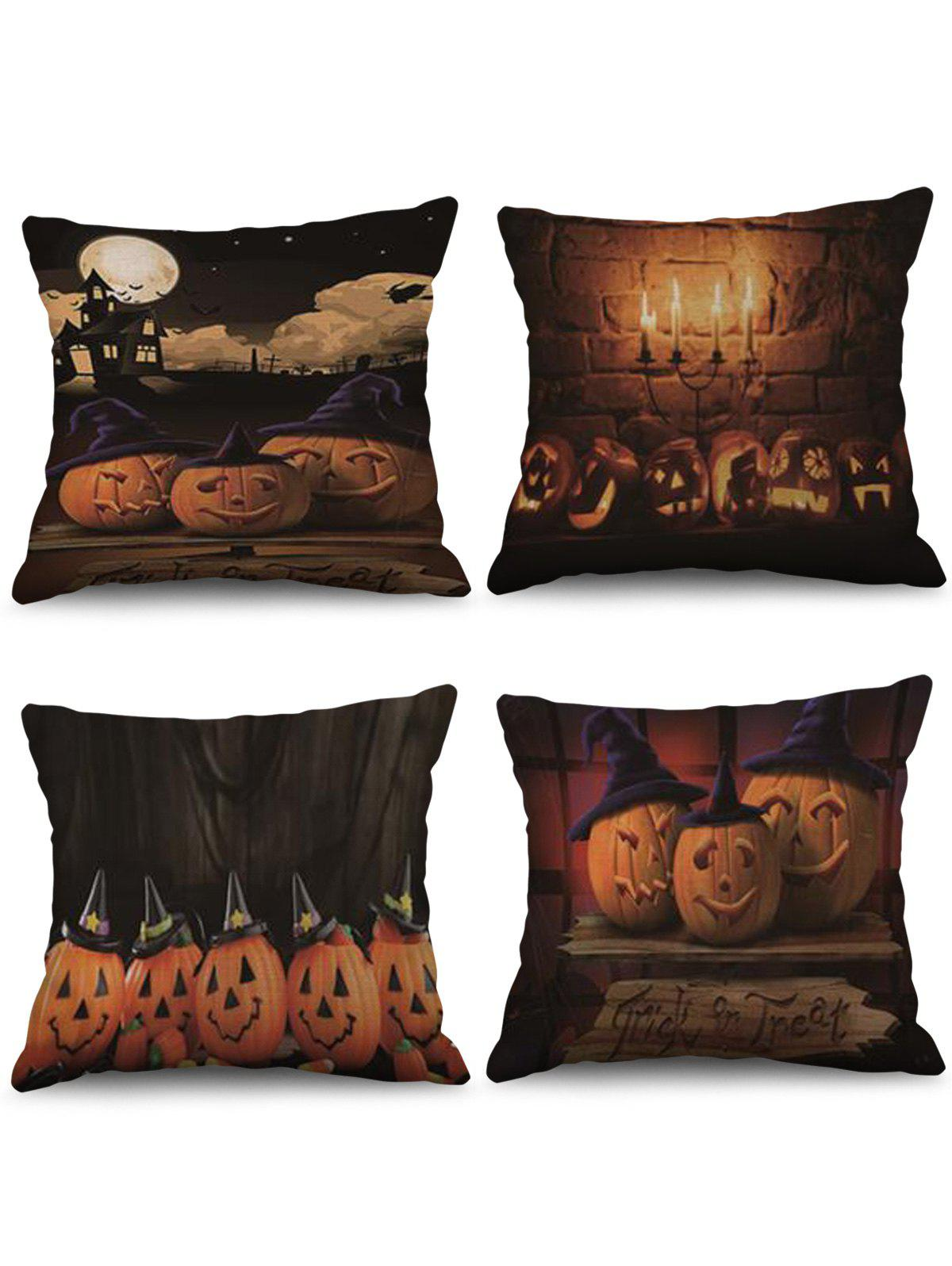 Outfits 4 Pcs Halloween Pumpkin Print Decorative Linen Pillowcases