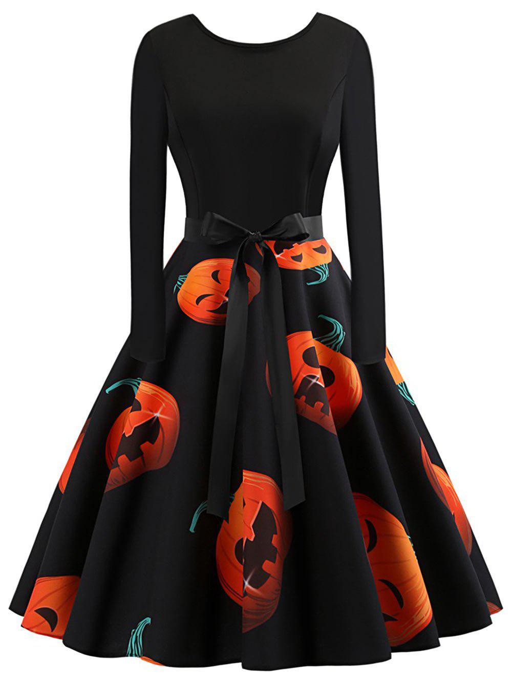 Online Plus Size Vintage Pumpkin Halloween Dress