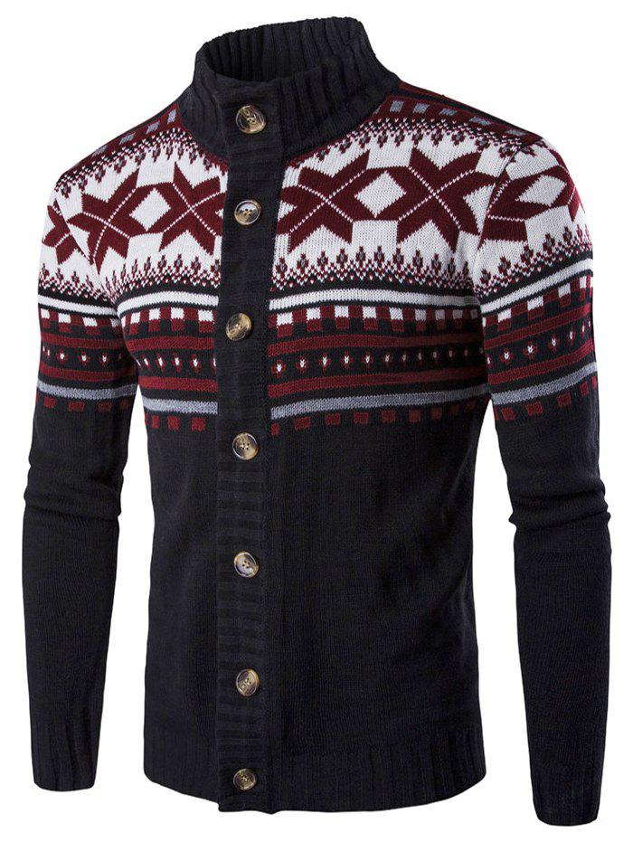 Fancy Geometric Snowflake Print Christmas Knitted Cardigan
