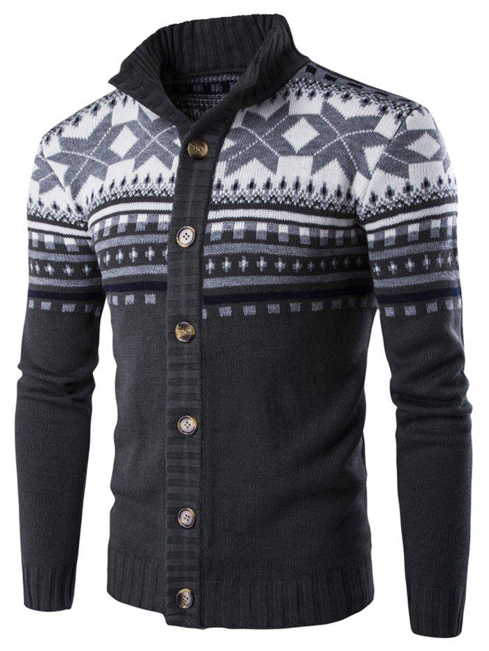 Sale Geometric Snowflake Print Christmas Knitted Cardigan