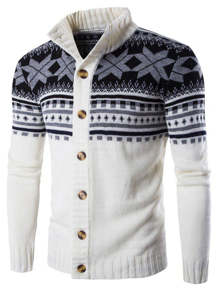 Best Geometric Snowflake Print Christmas Knitted Cardigan