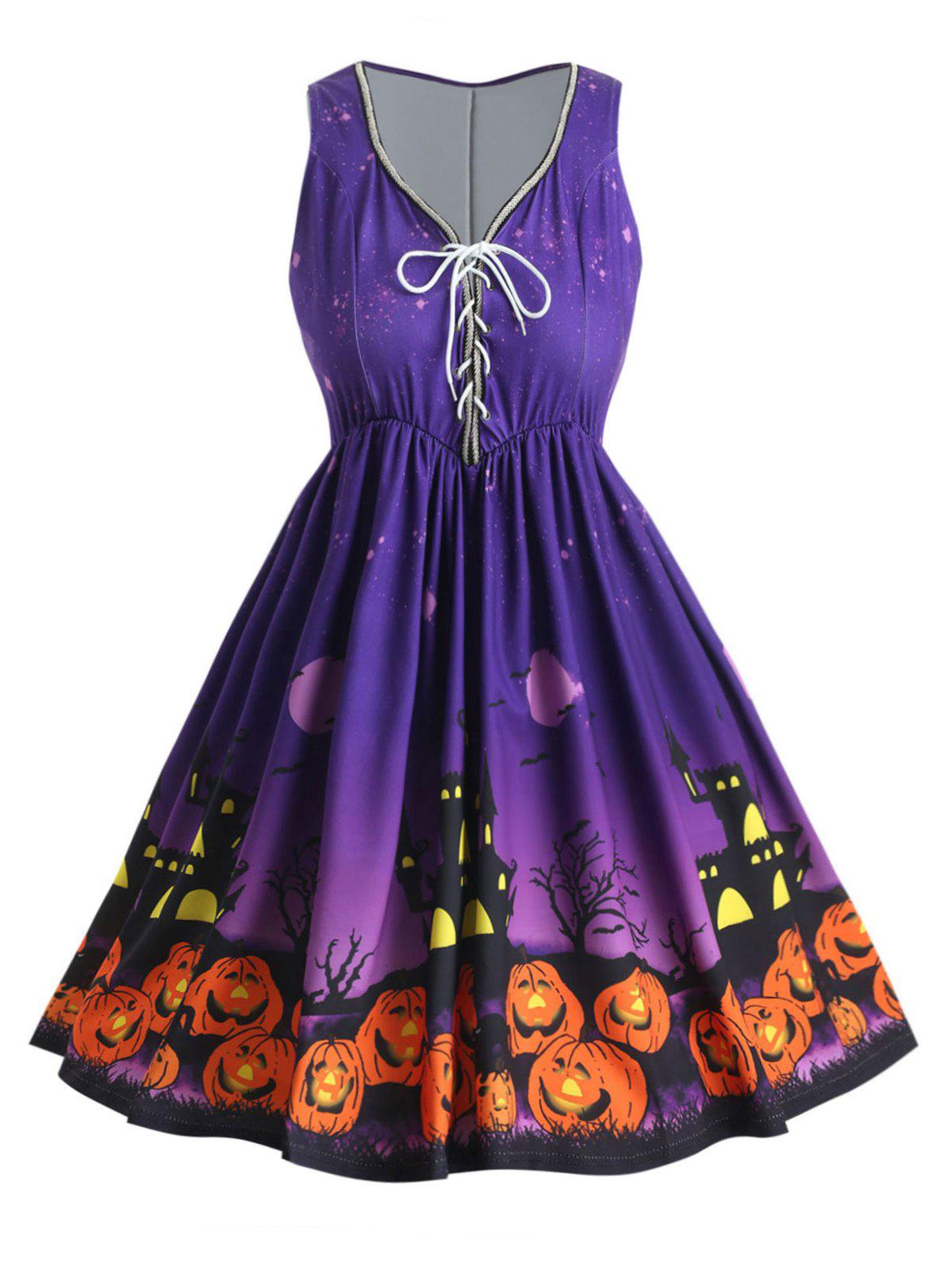 Affordable Lace Up Plus Size Pumpkin Lantern Halloween A Line Dress
