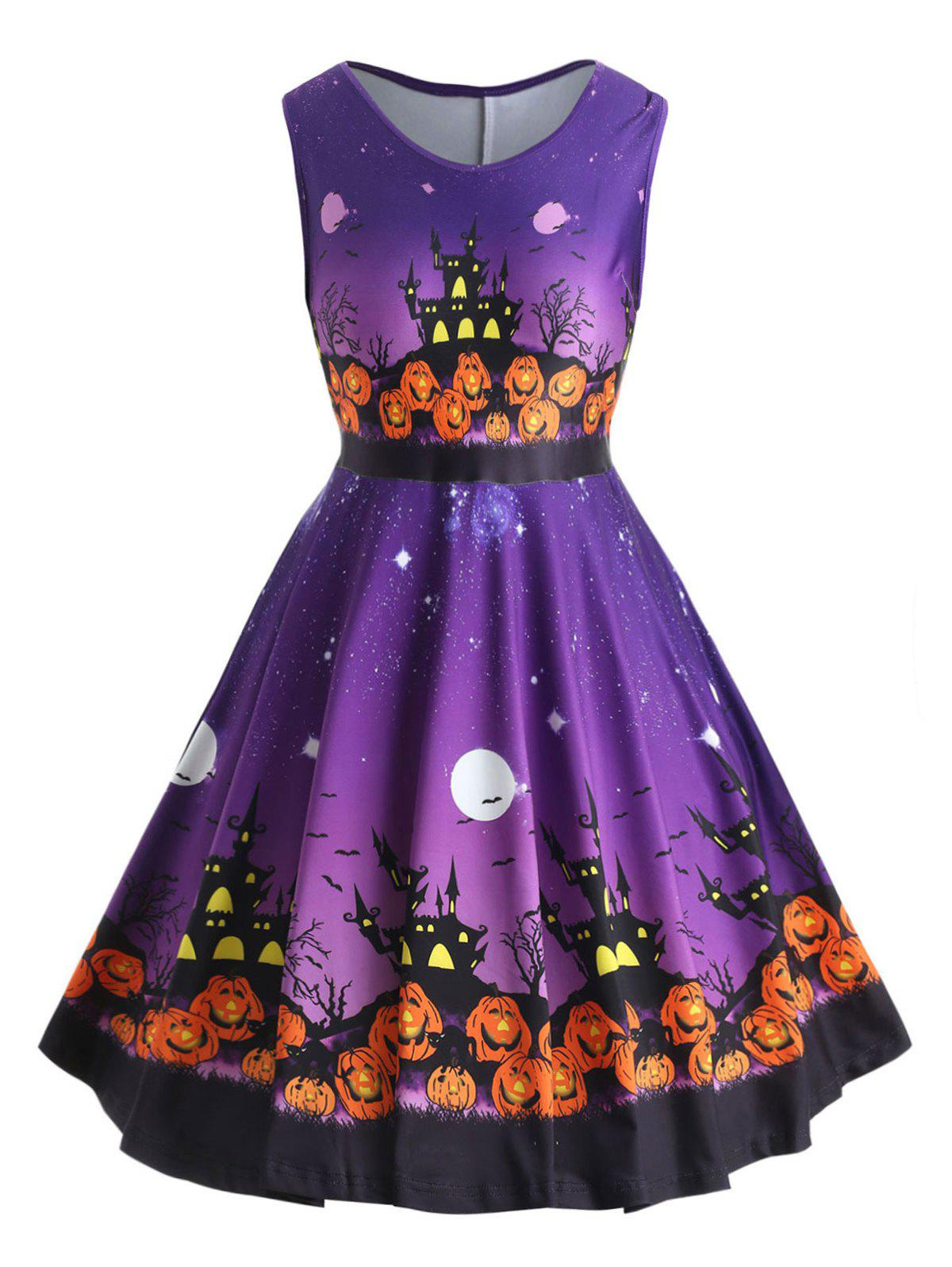 Discount Pumpkin Lantern Halloween Plus Size A Line Dress