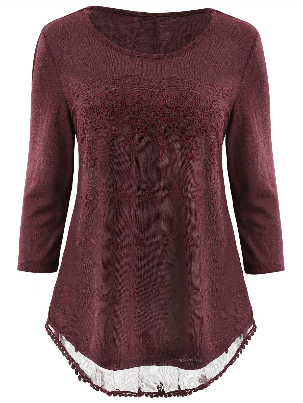Hot Embroidered Mesh Panel T-shirt