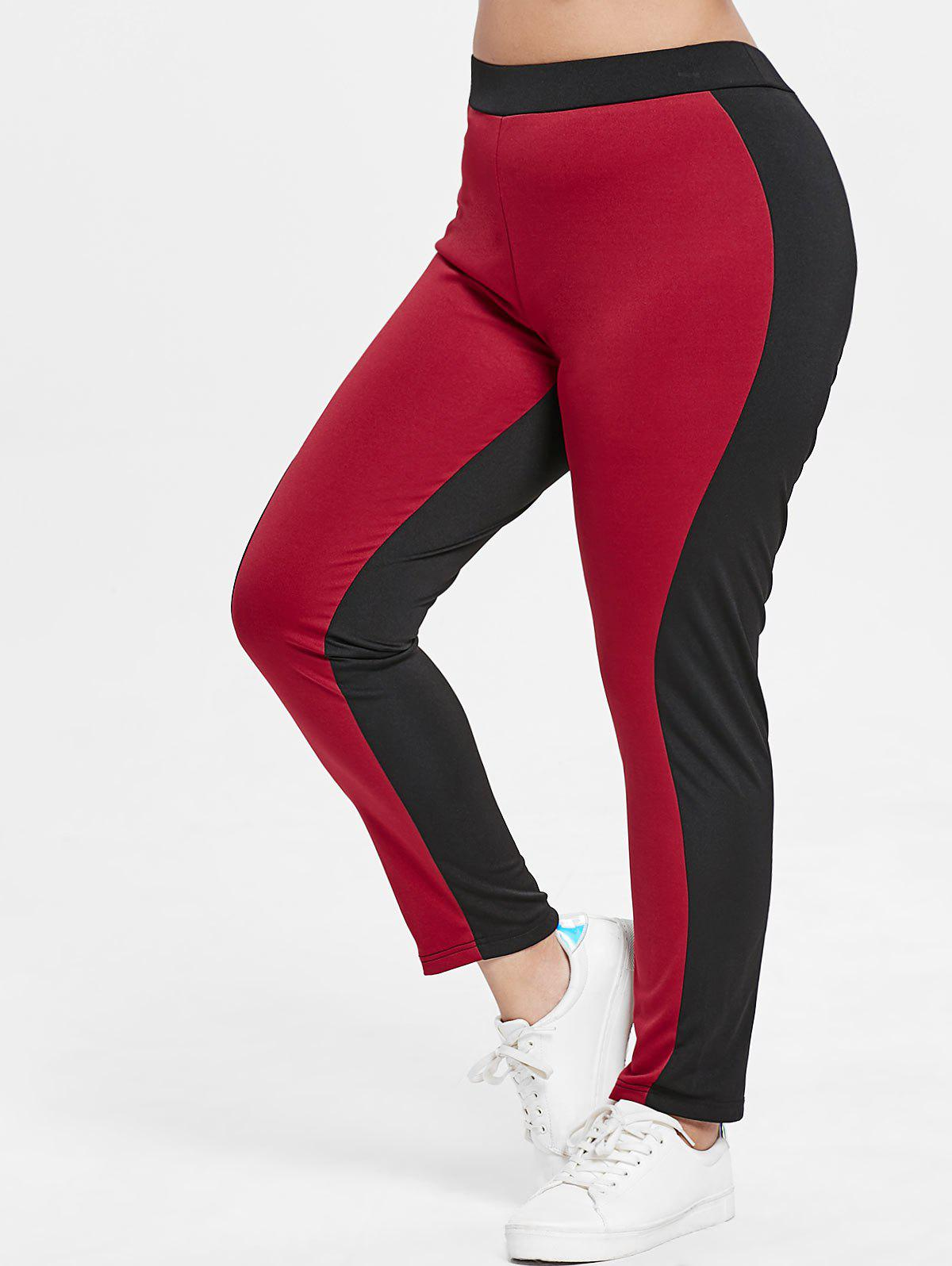 Cheap Plus Size Color Block Leggings