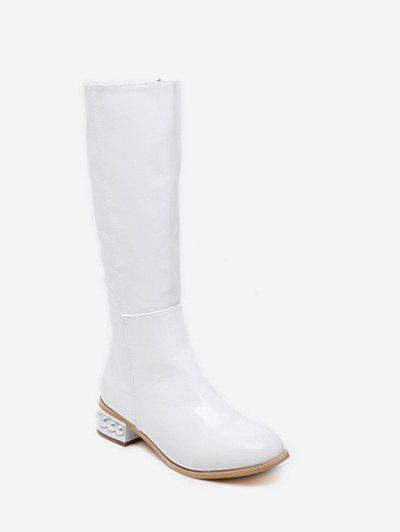 67c9901fae8 2019 Faux Pearl Low Heel Knee High Boots