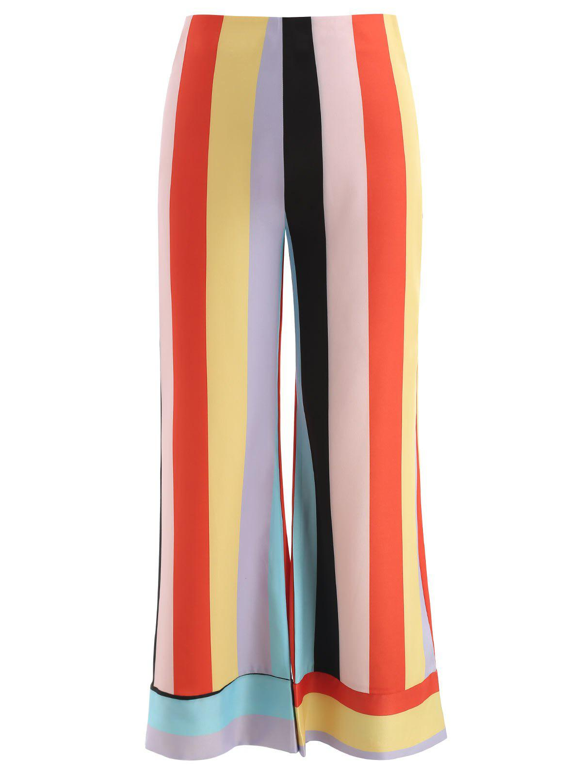Latest Wide Leg Colorful Striped Pants